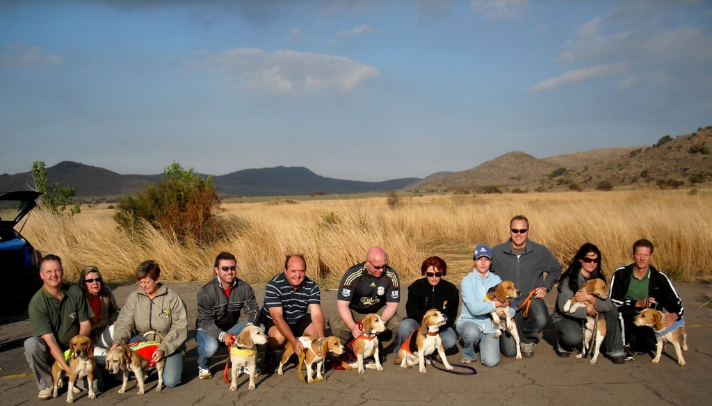 FROM LEFT: Glen, Vick & Lyn with Vicky's hounds Sam and Leo. Shaw with Matthew. Roelf with Maya, Trevor Poppadom, Dilene with Roti. Tanya and Peter with Oscar. Claire with Jet. Raymond with Roger.